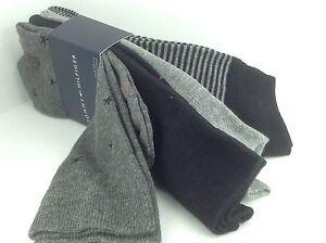 68b6c4e00e24 Men's TOMMY HILFIGER Gray Black STARFISH 73% COTTON Dress Socks. 4 ...
