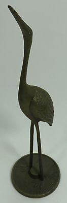 """Vintage Solid Brass Stork Heron Crane Bird Figurine 12"""""""