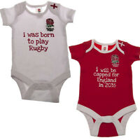 100% Official 2 Pack  England Rugby RFU Babygrow Vest Bodysuit All Sizes Here