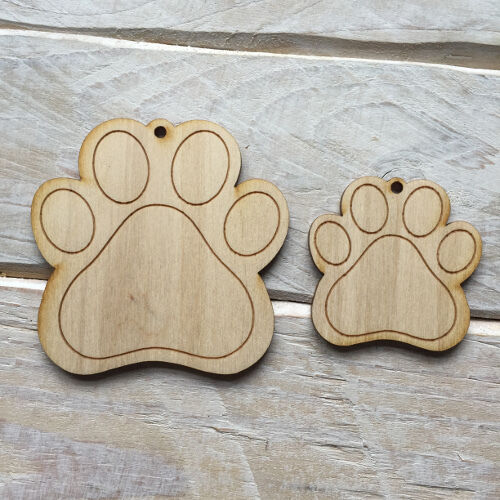 Wooden PAW PRINT Shape Craft Blank Embellishment PAW PRINT 10 Pack