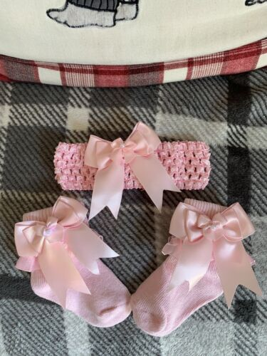 Girls Frilly Socks And Hairbands Premature Baby To Size 9to12 Shoe