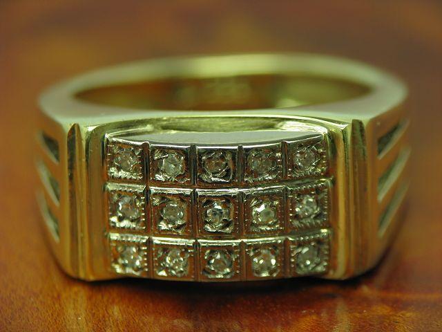 14kt 585 bicolor gold Ring mit 0,15ct Diamant Besatz   7,7g   RG 52