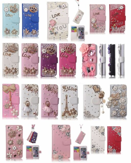 Luxury Bling Crystal 3D Flip Leather Wallet Magnetic Design Rhinestone Cases