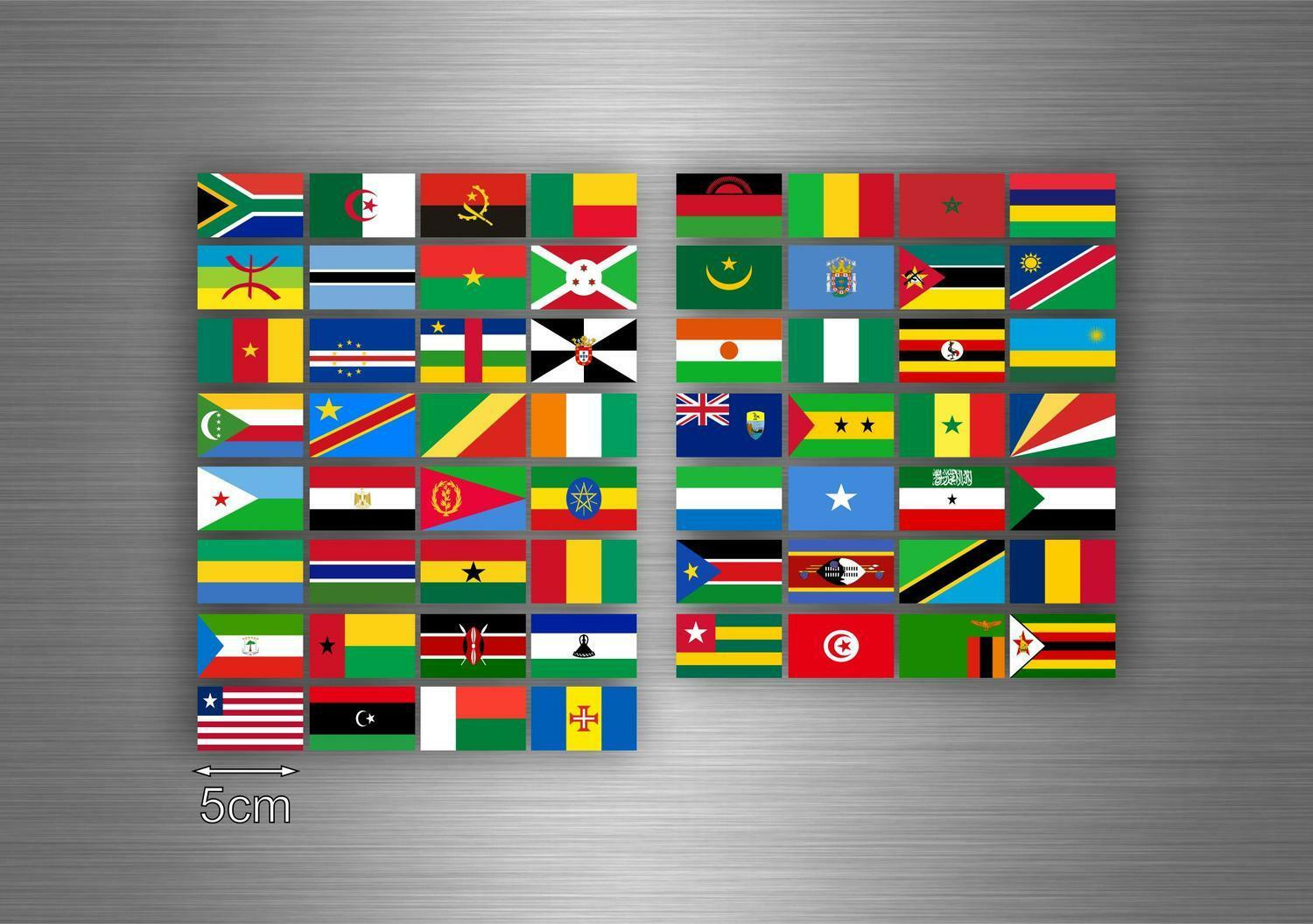 Set 60x sticker africa flag scrapbooking country collection stamp national 5cm