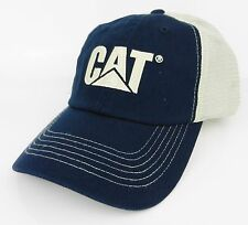 CAT CATERPILLAR *BLUE & TAN* TRADEMARK LOGO Mesh Trucker HAT CAP * NEW* CA03