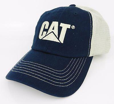 f7beb965fcb83 CAT CATERPILLAR  BLUE   TAN  TRADEMARK LOGO Mesh Trucker HAT CAP   NEW