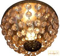 Antique French Ceiling Lamp  Basket Chandelier Flush Mount Crystal Vintage