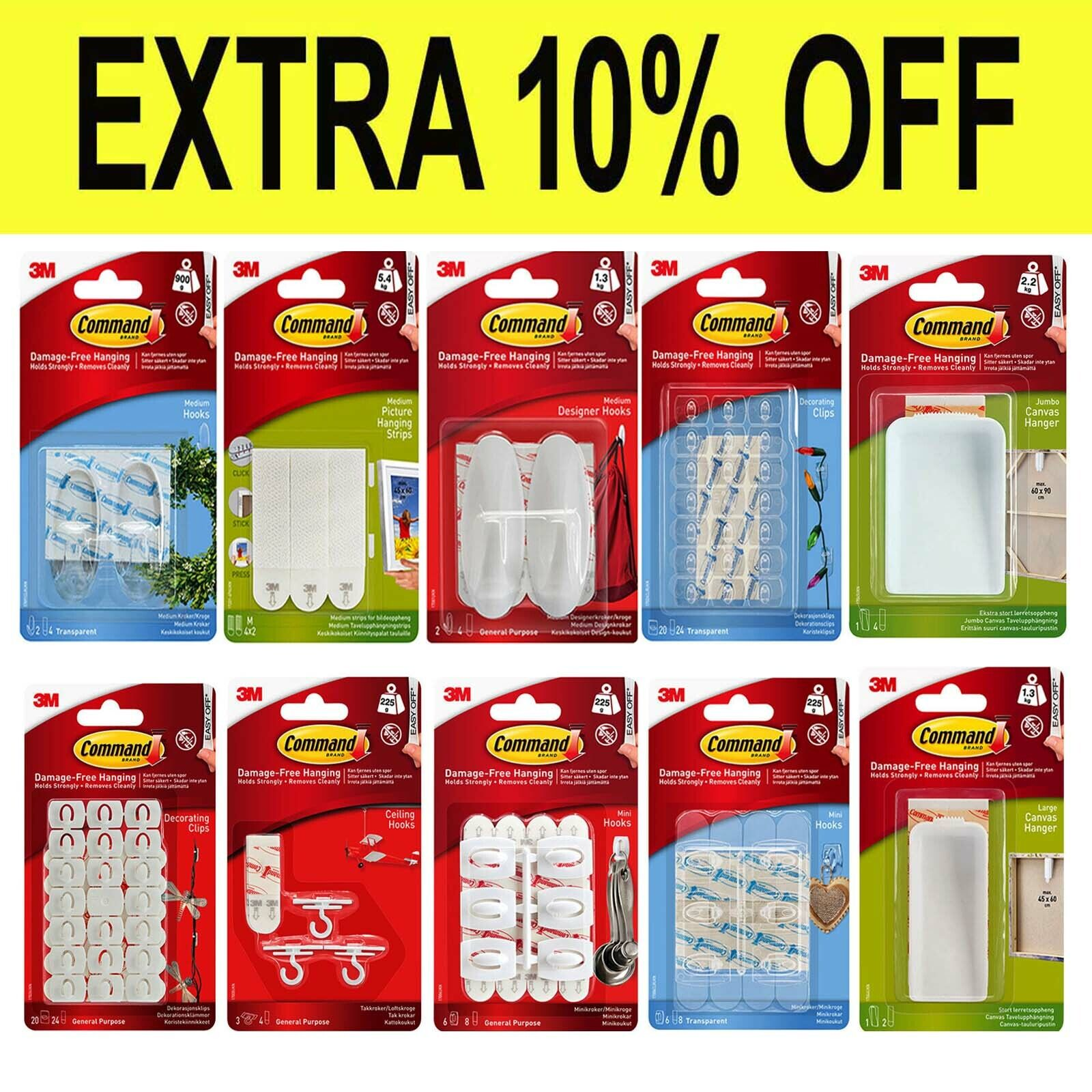 3M COMMAND Strips & Hooks Damage Free Picture/Poster Hanging, Small Medium Large