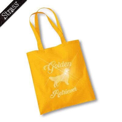 Jutebeutel Beutel Einkaufstasche Tasche Shopper Strass Hund Golden Retriever M1