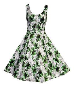 LADIES-1940-039-S-1950-039-S-VINTAGE-STYLE-PEAR-PRINT-BUTTON-DETAIL-TEA-DRESS-8-TO-18