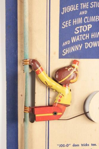 Vintage Jog-O the Climbing Monkey Tin Toy 1950s New Old Stock on Card Tot-Tested