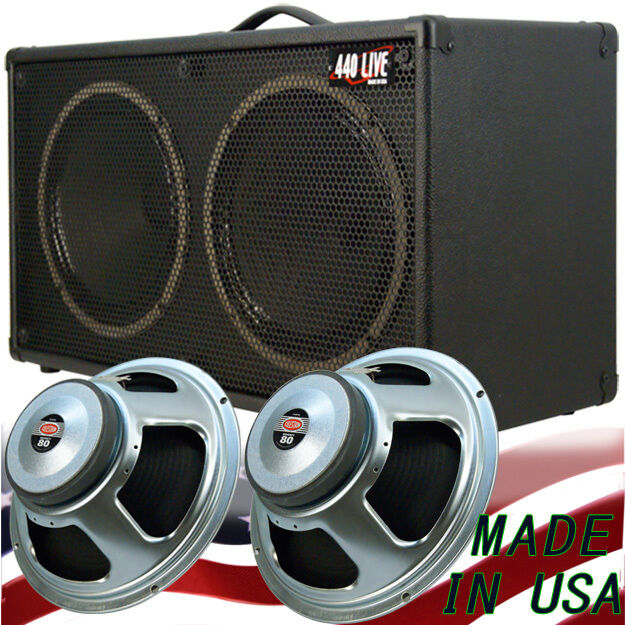 2x12 Guitar Speaker Cabinet Bronco Black Tolex W/celestion Seventy 80  Speakers