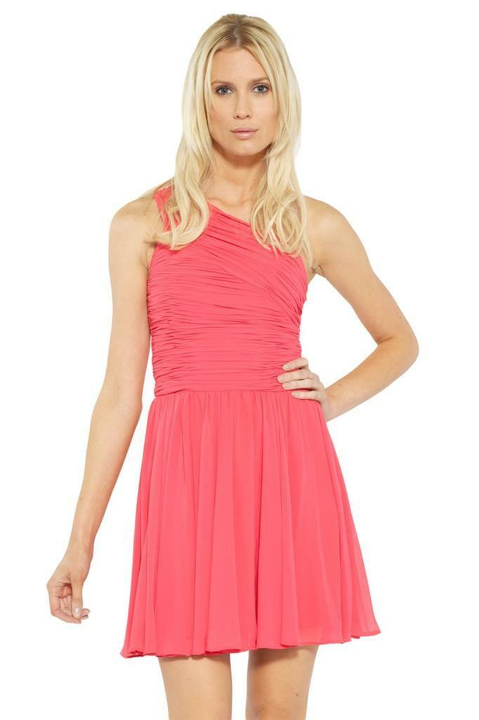 Halston Heritage One Shoulder Gatherot Short Dress Poppy Rosa coral Ruched