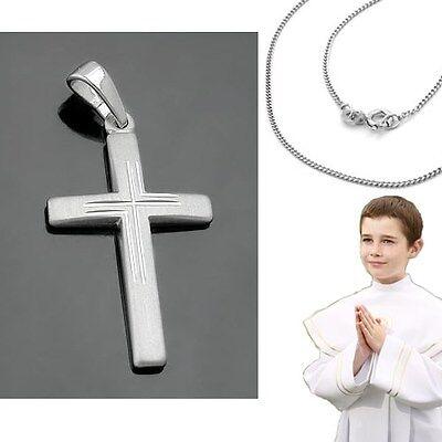 Silber 925 Baby Taufe Kinder Kommunion Firmung Kreuz Anhänger mit Panzer Kette