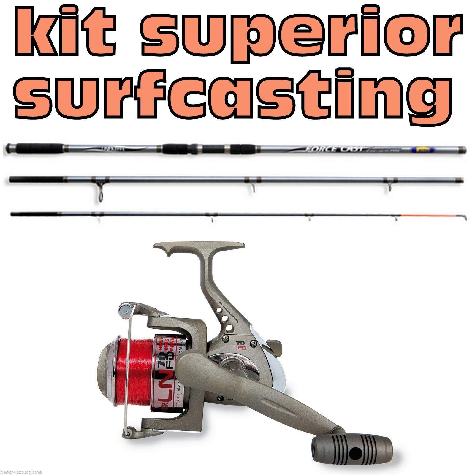 Canna e mulinello da surfcasting kit pesca in mare lancio lancio mare tecnico spiaggia orata 2e7f58