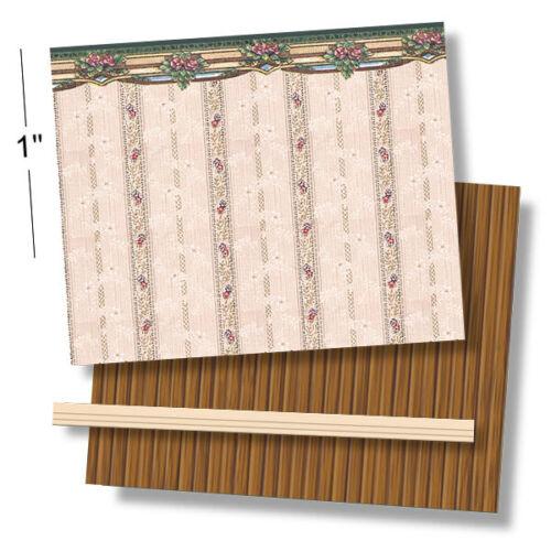 1:48 Scale Dollhouse Wallpaper 1920 Vintage Gold Poppy Ferns Faux Wood Floor