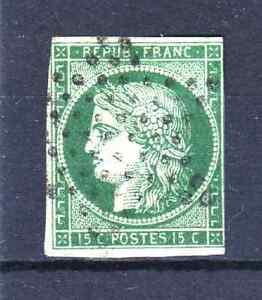 FRANCE-YVERT-2b-SCOTT-2-034-CERES-15c-DARK-GREEN-1850-034-USED-F-MUST-SEE-R041