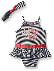 77c421a1400e Calvin Klein Infant Girls Striped Sun Suit W Headband Size 0 3M 3 6M ...