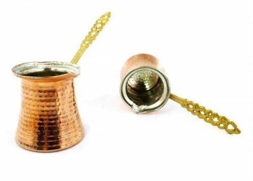Hand Hammered Copper Turkish Coffee Pot,Jazzva Briki,XS,S,M,L,XL Brass Handle