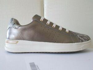 Dettagli su Geox Jr AveUp girl scarpe donna sneaker pelle gold tortorasnake n.38 €83,90