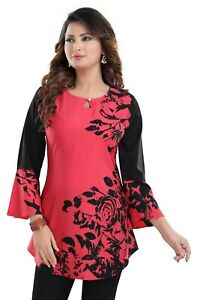 Women-Indian-Kurti-Tunic-Ethnic-Kurta-Dress-Floral-Pink-Printed-Short-SC2409S