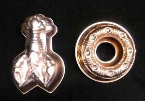 Set-of-2-Copper-Round-Lobster-Jello-Cake-Wall-Decoration-Molds-Vintage