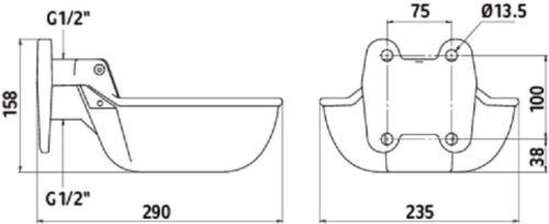 Guss Tränkebecken für Niederdruck N20 Pferdetränke Rindertränke Tränke 222030