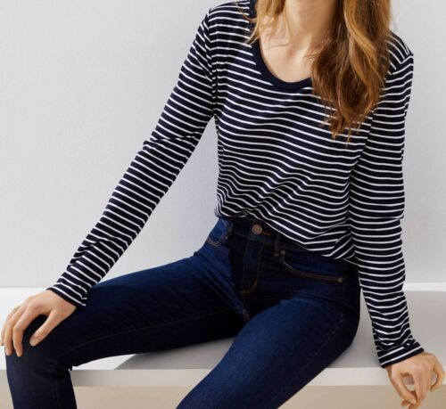 Details about  /Ann Taylor LOFT Striped Scoop Neck Tee Top Various Sizes NWT White
