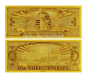 Image Is Loading 1000000000 One Billion Us Dollars Banknote Gold Foil