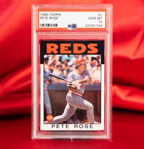 PSA 10 GEM MINT 1986 Topps PETE ROSE #1 | POP 78 | REDS HOF | RARE | Hit King