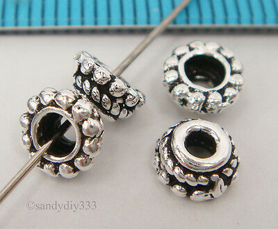 4x OXIDIZED BALI STERLING SILVER ROPE DAISY BEAD CAP 5.7mm SPACER BEAD #2134
