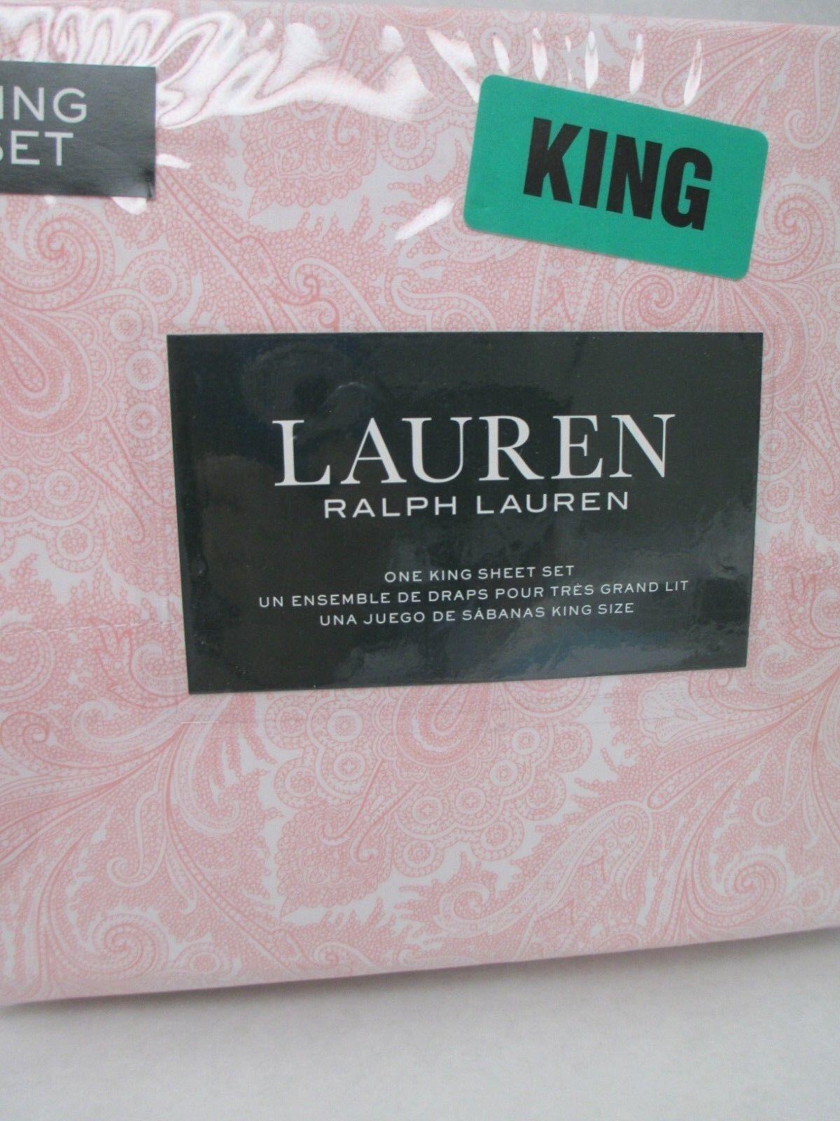 Ralph Lauren 100% Cotton 4pc White Pink Coral Paisley Floral Sheet Set - King