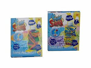 Childrens-Kids-Glow-or-Glitter-Fun-Sand-Make-Your-Own-Art-Bottle-Craft-Kit