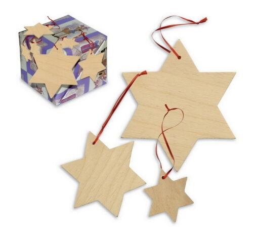 Holzsterne Hänger 15er Set Stern aus Holz Bemalen Basteln kreativ Anhänger