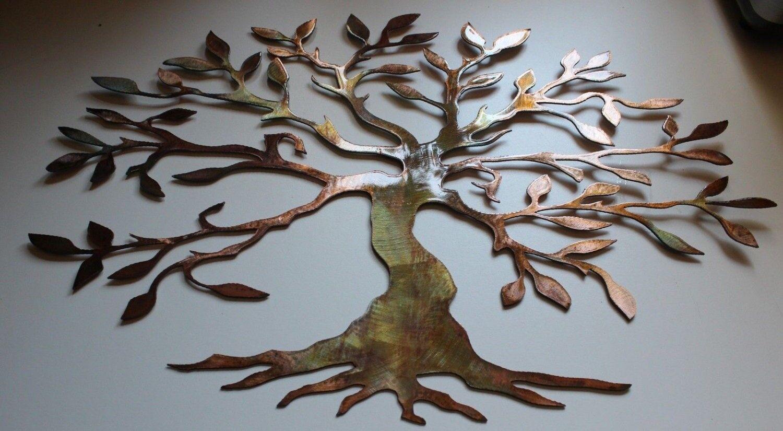 Olive Tree Breit & Kurz Fassung Baum Of Life Metall Wandkunst Dekor Neu 36   W