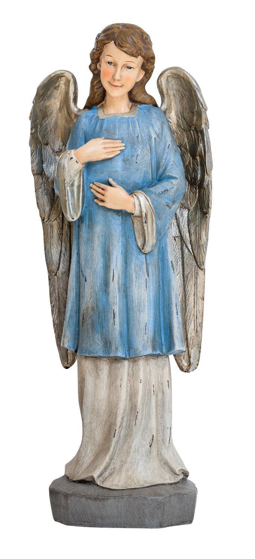 Skulptur Engel 47cm Heiligenfigur Figur Statue Engelsfigur Antik-Stil