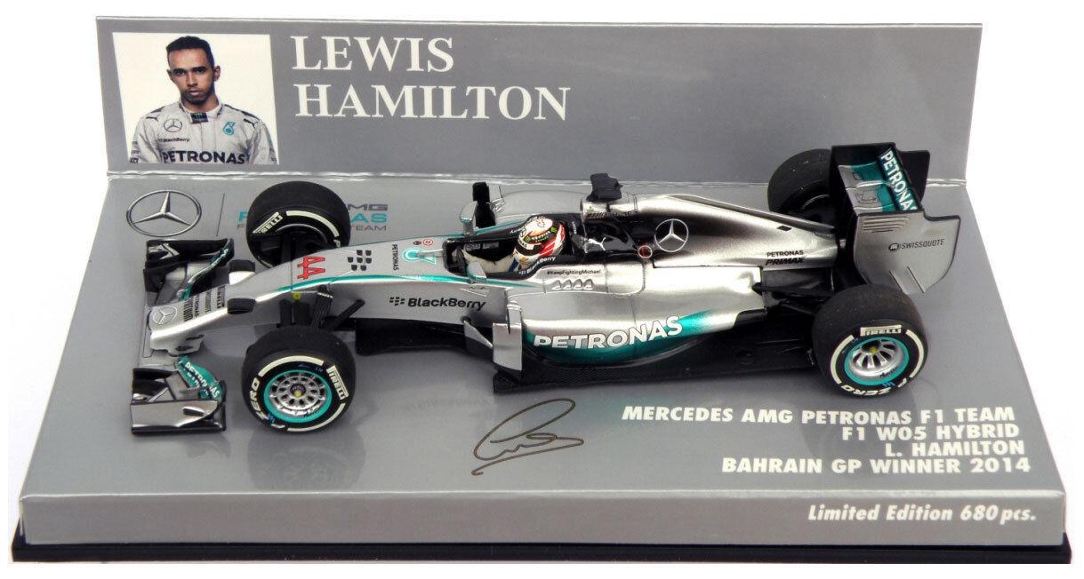 Minichamps mercedes W05 bahrain gp 2014-lewis hamilton world champion 1 43