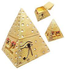 "6.25"" Tall Egyptian Legend Eye of Horus Gold Pyramid Hinged Jewelry Trinket Box"