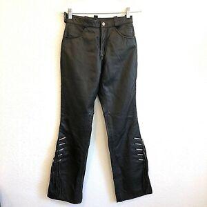 Harley-Davidson-Womens-Leather-Fringe-Pants-Size-2-Black-NWOT