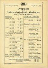 Eschebach Radeberg Prospekt Gasherde Preisliste 1934 Herd