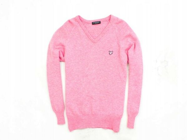 *o Lyle Scott Mens Sweather V-neck Wool Pink M