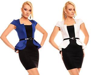 Hot-Sexy-Ladies-Peplum-Business-style-stretchy-mini-Dress-incl-Belt-Sizes-8-14