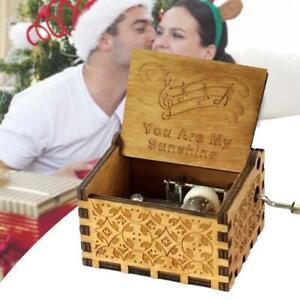 hölzerne Spieluhr You are My Sunshine Music Box Vintage Geschenk Made Hand C7B1