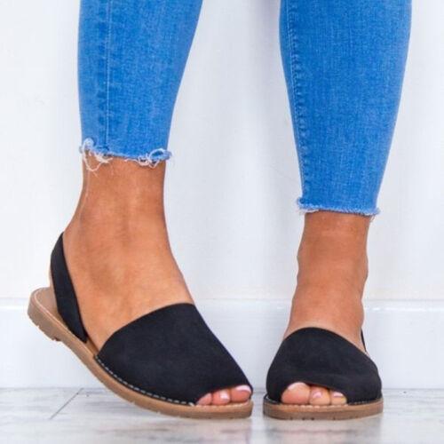 Damen Sandalen Flach Peep Toe Sommerschuhe Espadrillers Riemchen Sandaletten Hot