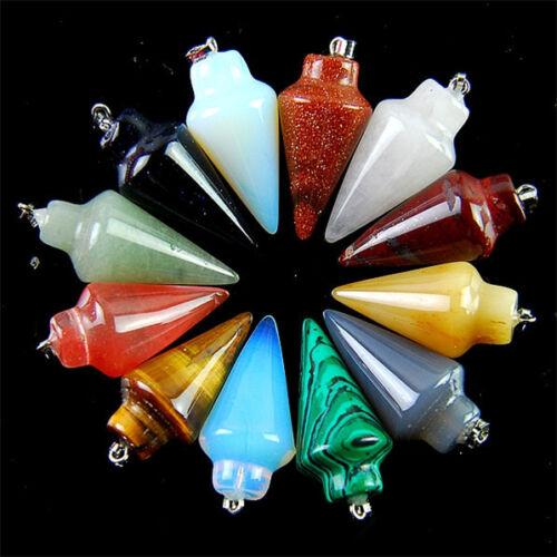 Wholesale 12pcs Beautiful Carved Pendulum Mixed Gemstone Pendant Bead HYBC56