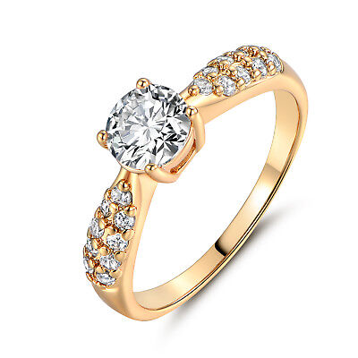 18K Yellow Gold Filled Women Clear Micro-Pave Zircon Topaz Ring Jewelry Party