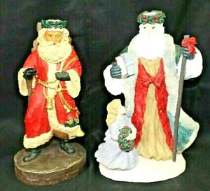 Lot-of-2-Vintage-Christmas-ORIGINAL-ARTMARK-8-Inch-Tall-Santa-Figurines