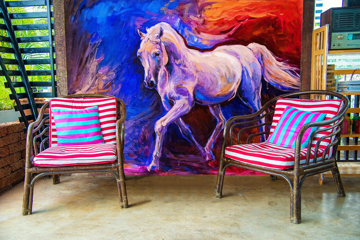 3D painting abstract horse Wall Paper Print Decal Wall Deco Indoor wall Mural