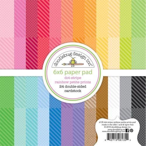 """Doodlebug petite Imprime Double-Sided Paper Pad 6/""""x6/"""" 24//pkg-dot à rayures arc-en-ciel,"""