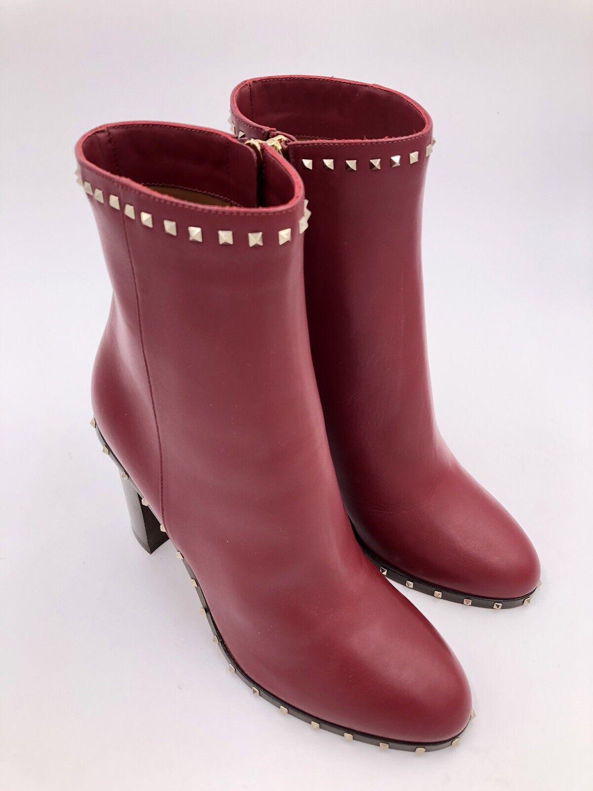Valentino Garavani Ankle Stiefel Rockstud 37 Leder Bordeaux Gr. 37 Rockstud LP  1.050 EU NEU d27523